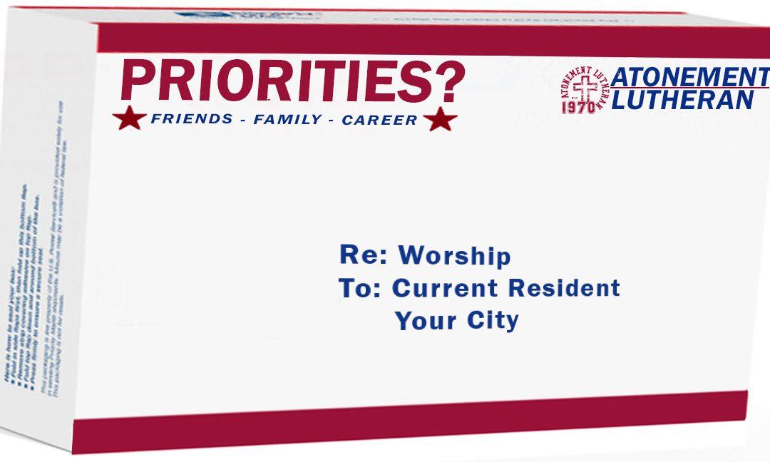 Priorities? – Worship– September, 24th – Becky Lee